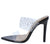Amanda10 Black Sparkle Lucite Pointed Open Toe Stiletto Heel