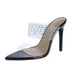 Amanda10 Black Sparkle Lucite Pointed Open Toe Stiletto Heel - Wholesale Fashion Shoes