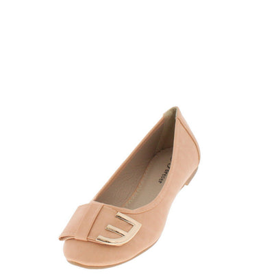 Ameena15 Nude Metal E Bow Ballet Flat - Wholesale Fashion Shoes