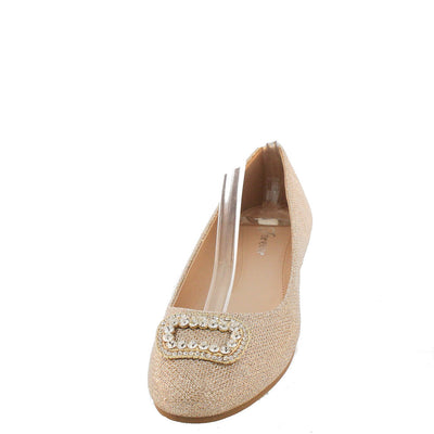 Andy11 Champagne Shimmer Buckle Toe Flat - Wholesale Fashion Shoes