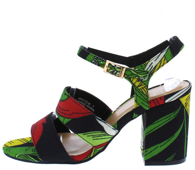 Appetite63 Black Floral Dual Strap Chunky Heel - Wholesale Fashion Shoes