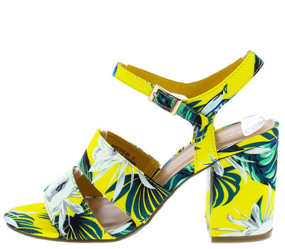 Appetite63 Yellow Floral Dual Strap Chunky Heel - Wholesale Fashion Shoes