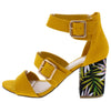 Appetite70 Marigold Tri Strap Open Toe Chunky Heel - Wholesale Fashion Shoes