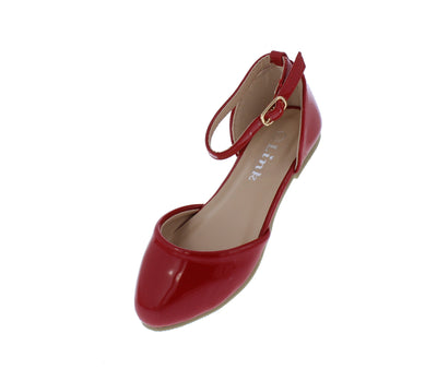 Arrow45k Red Almond Toe Ankle Strap Dorsay Kids Flat - Wholesale Fashion Shoes