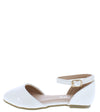 Arrow45k White Almond Toe Ankle Strap Dorsay Kids Flat - Wholesale Fashion Shoes