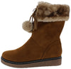 B1802 Camel Faux Fur Cuff Pom Pom Boot - Wholesale Fashion Shoes