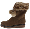 B1802 Khaki Faux Fur Cuff Pom Pom Boot - Wholesale Fashion Shoes