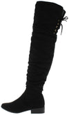 B212h Black Suede Rear Lace Up Over The Knee Boot - Wholesale Fashion Shoes