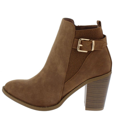 B5040 Camel Nubuck Ribbed Buckle Strap Ankle Boot - Wholesale Fashion Shoes