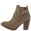 B5040 Khaki Ribbed Buckle Strap Ankle Boot - Wholesale Fashion Shoes