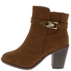 B523 Camel Buckle Strap Stacked Heel Ankle Boot - Wholesale Fashion Shoes