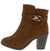 B523 Camel Buckle Strap Stacked Heel Ankle Boot