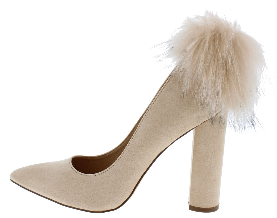 1975189435 Layla163 Nude Pointed Toe Feather Pom Pom Pump Heels Only $10.88 ...