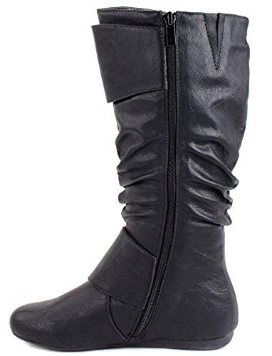 Bank85 Black Dual Side Buckle Half Calf Boot - Wholesale Fashion Shoes
