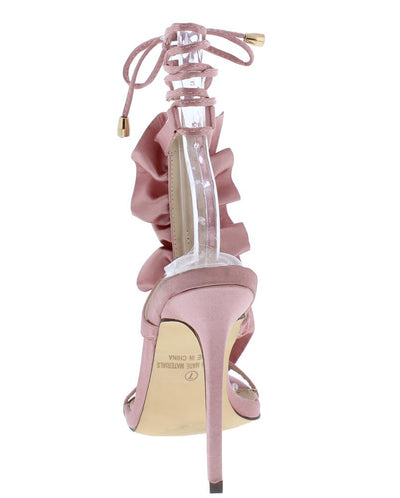 Mila282 Dusty Pink Open Toe Ruffle T Strap Ankle Wrap Heel - Wholesale Fashion Shoes