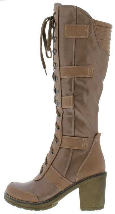 Charlotte294 Tan Pu Lace Up Knee High Boot - Wholesale Fashion Shoes