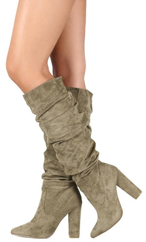91a315efeb6 Beautiful65 Olive Ruched Pointed Toe Knee High Boot - Wholesale Fashion  Shoes