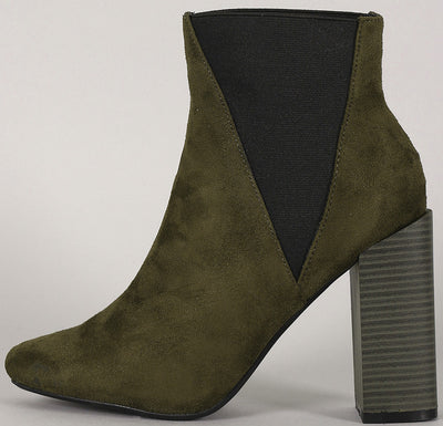 Bemice11 Olive Elastic Offset Chunky Heel Ankle Boot - Wholesale Fashion Shoes