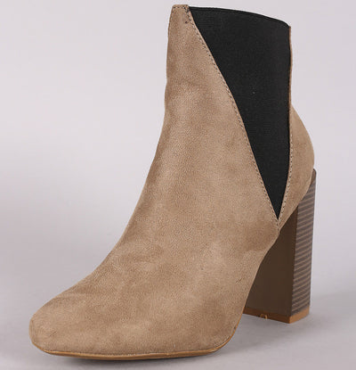 Bemice11 Taupe Elastic Offset Chunky Heel Ankle Boot - Wholesale Fashion Shoes