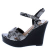 Berdina01 Snake Cross Strap Open Toe Slingback Platform Wedge - Wholesale Fashion Shoes