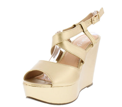 Bertha01 Champagne Peep Toe Cross Strap Slingback Wedge - Wholesale Fashion Shoes