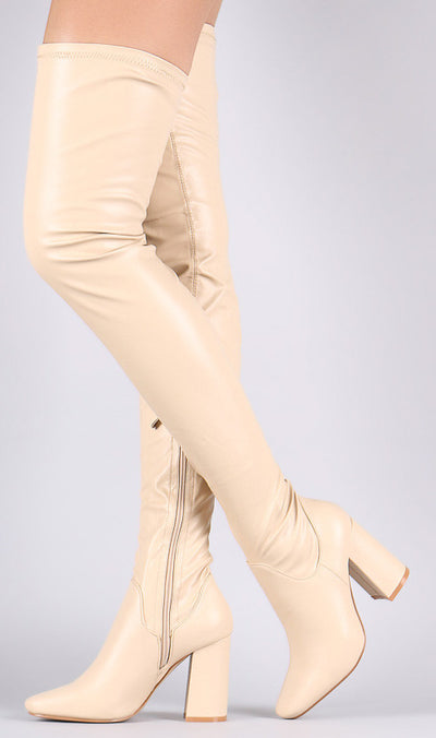 Betisa2 Nude Stretch Low Chunky Heel Thigh High Boot - Wholesale Fashion Shoes