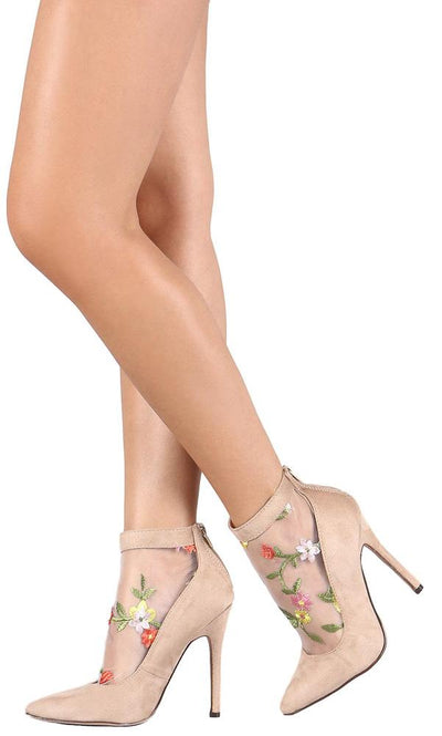 Mackenzie248 Nude Suede Embroidered Mesh Rear Zip Heel - Wholesale Fashion Shoes
