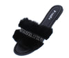 Betty02a Black Rhinestone Faux Fur Flat Slide Sandal