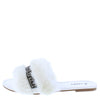 Betty02a White Rhinestone Faux Fur Flat Slide Sandal