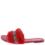 Betty03ja Red Bougie Rhinestone Faux Fur Slide Sandal