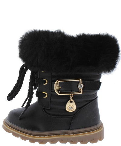 Aurora239 Black Faux Fur Lug Sole Infants Boot - Wholesale Fashion Shoes