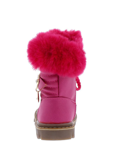 Aurora239 Plum Red Faux Fur Lug Sole Infants Boot - Wholesale Fashion Shoes