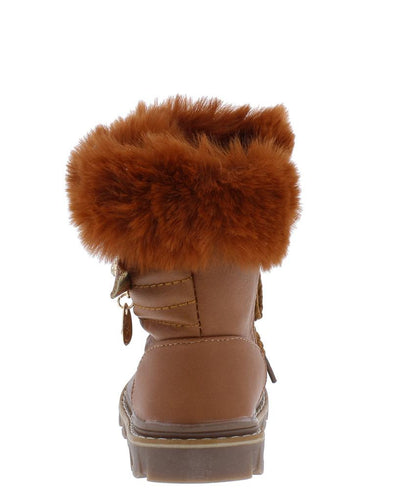 Aurora239 Tan Faux Fur Lug Sole Infants Boot - Wholesale Fashion Shoes