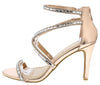 Blaze25s Rose Gold Rhinestone Cross Strap Stiletto Heel - Wholesale Fashion Shoes