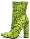 Boas Lime Snake Pointed Toe Extended Ankle Boot - Wholesale Fashion Shoes