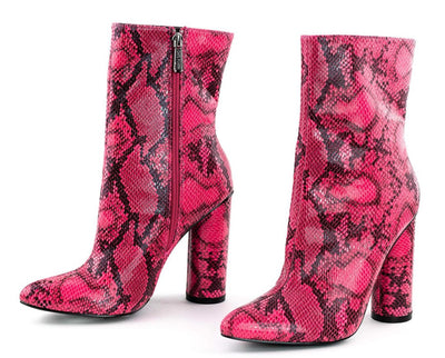 Boas Neon Pink Snake Pointed Toe Extended Ankle Boot - Wholesale Fashion Shoes