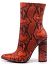 Boas Orange Snake Pointed Toe Extended Ankle Boot - Wholesale Fashion Shoes