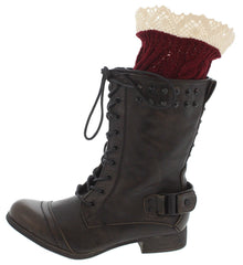 LACE TRIM BOOT CUFF BURGUNDY - Wholesale Fashion Shoes