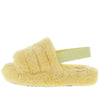 Boo Yellow Faux Fur Open Toe Slingback Sandal - Wholesale Fashion Shoes