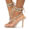 Lisa100 Nude Rhinestone Ankle Wrap Open Toe Heel - Wholesale Fashion Shoes