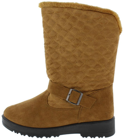 Charlotte171 Camel Quilted Faux Fur Lined Lug Sole Boot - Wholesale Fashion Shoes