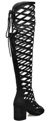 Burke03 Black Criss Cross Chunky Square Heel Boot - Wholesale Fashion Shoes