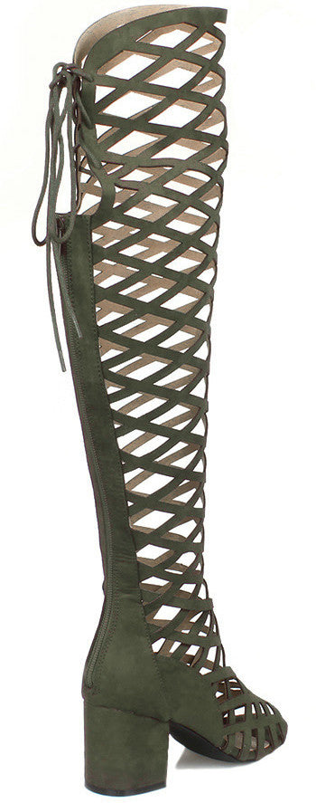 Burke03 Olive Criss Cross Chunky Square Heel Boot - Wholesale Fashion Shoes