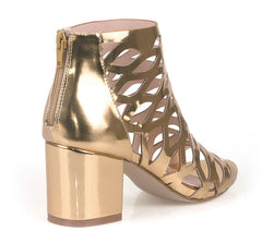 BURKE04 GOLD METALLIC PATENT MULTI CUT OUT CHUNKY HEEL ANKLE BOOT - Wholesale Fashion Shoes