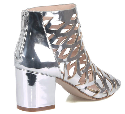 Burke04 Silver Metallic Patent Multi Cut Out Chunky Heel Ankle Boot - Wholesale Fashion Shoes