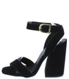 Cage12 Black Nubuck Pu Chunky Block Heel - Wholesale Fashion Shoes
