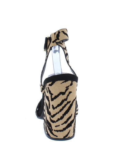 Cage12 Tan Black Tiger Suede Pu Chunky Block Heel - Wholesale Fashion Shoes