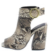 Cage21 Beige Brown Snake Pu Peep Toe Cut Out Block Heel - Wholesale Fashion Shoes