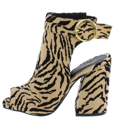 Cage21 Tan Black Tiger Suede Pu Peep Toe Cut Out Block Heel - Wholesale Fashion Shoes