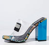 Camryn Smoke Blue Square Open Toe Vogue Lucite Mule Block Heel - Wholesale Fashion Shoes